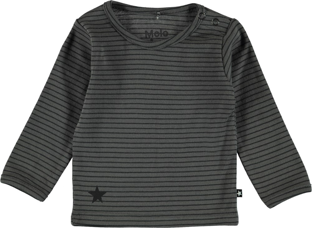 Elo - Pewter Stripe - Dark grey striped t-shirt.