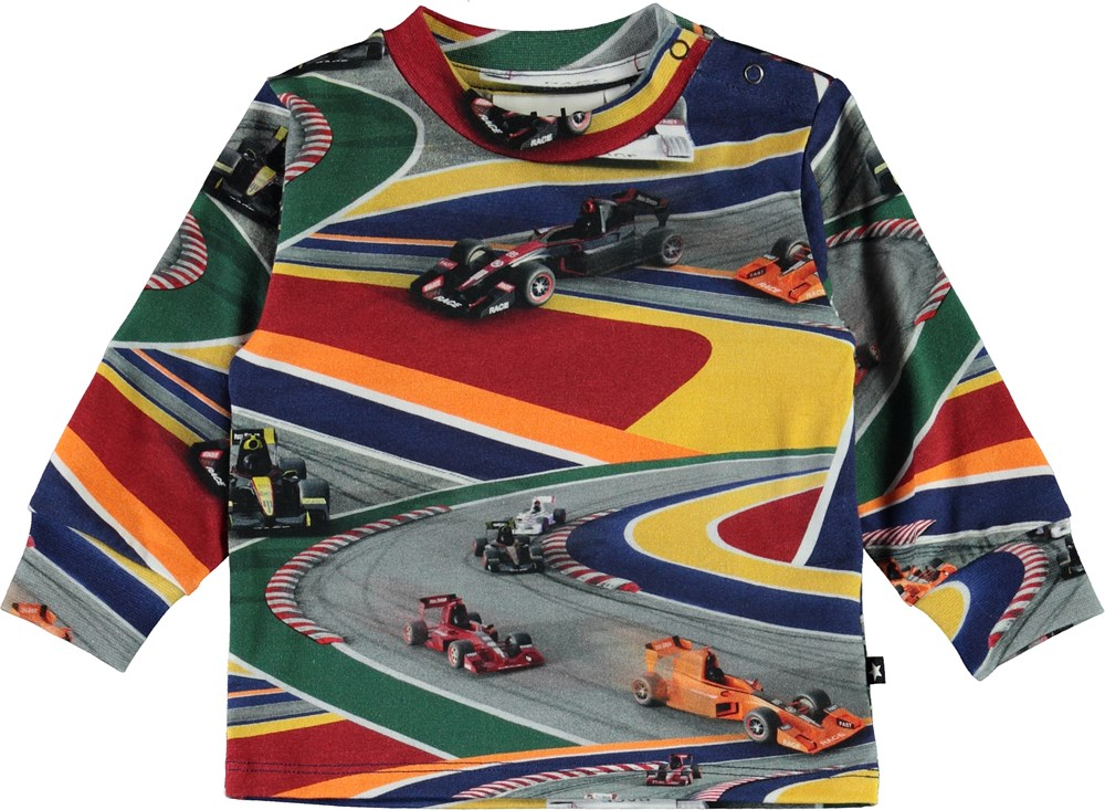 Eloy - Full Speed - Organic baby top with race cars
