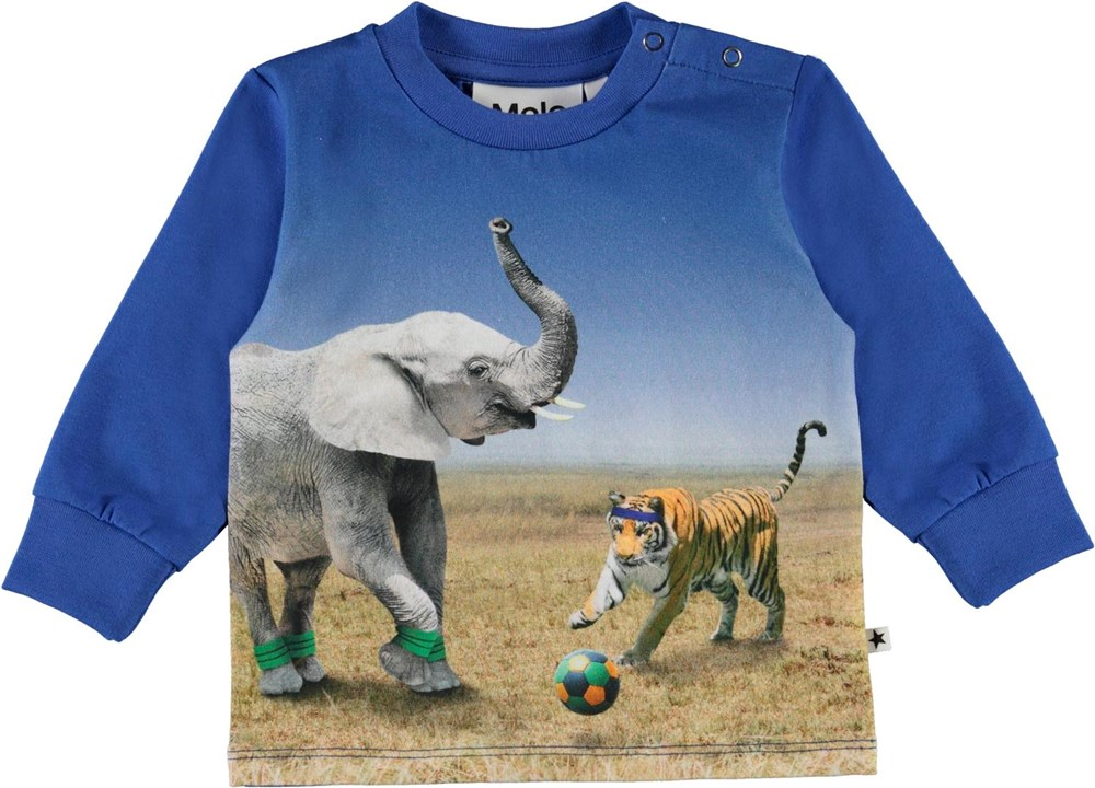 Eloy - Go Tiger! - Blue baby top with elephant and tiger