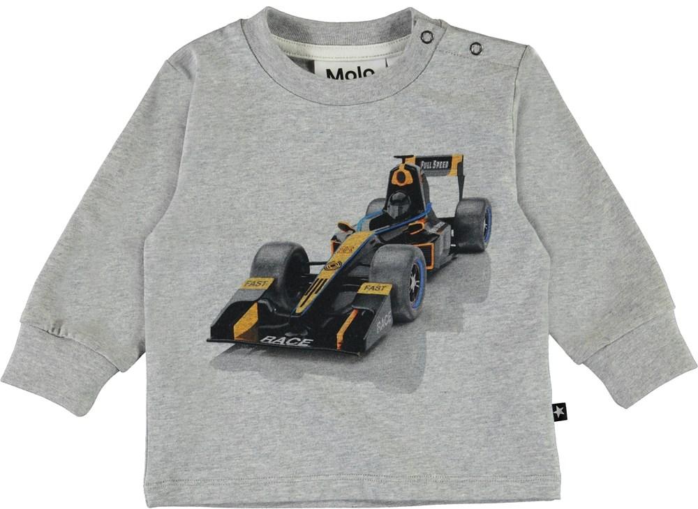 Eloy - Race Car Baby - Organic grey baby top with car