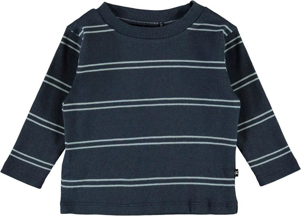 Elvo - Blue Stripes - Organic striped baby top