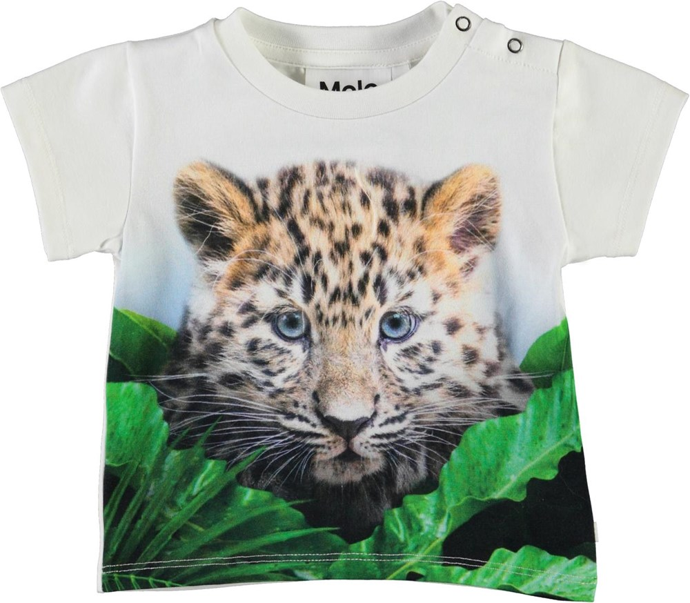 Emilio - Jungle Cub - Organic baby t-shirt with leopard