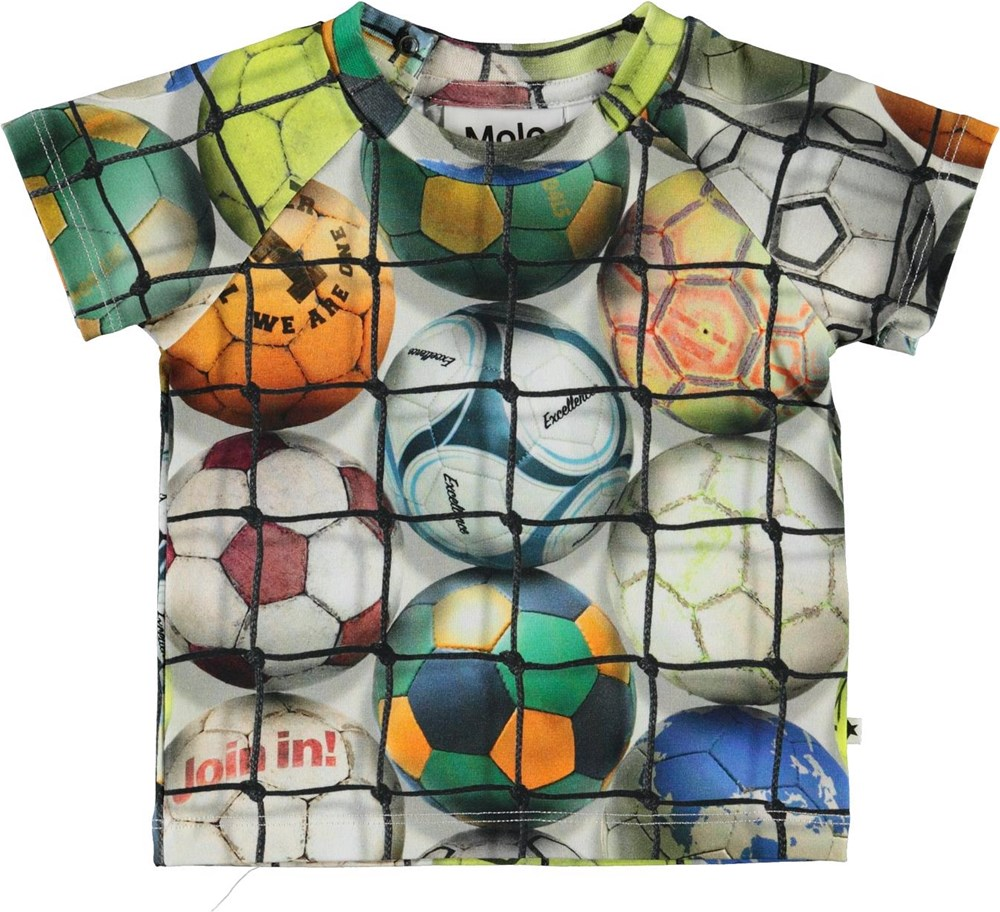 Emmett - Footballs - Organic baby t-shirt with footballs