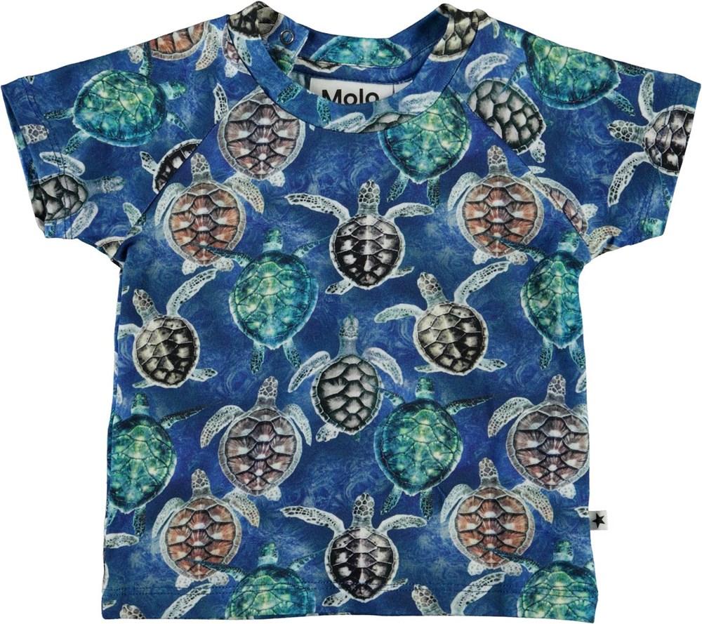 Emmett - Mini Turtles - Blue baby t-shirt with turtles