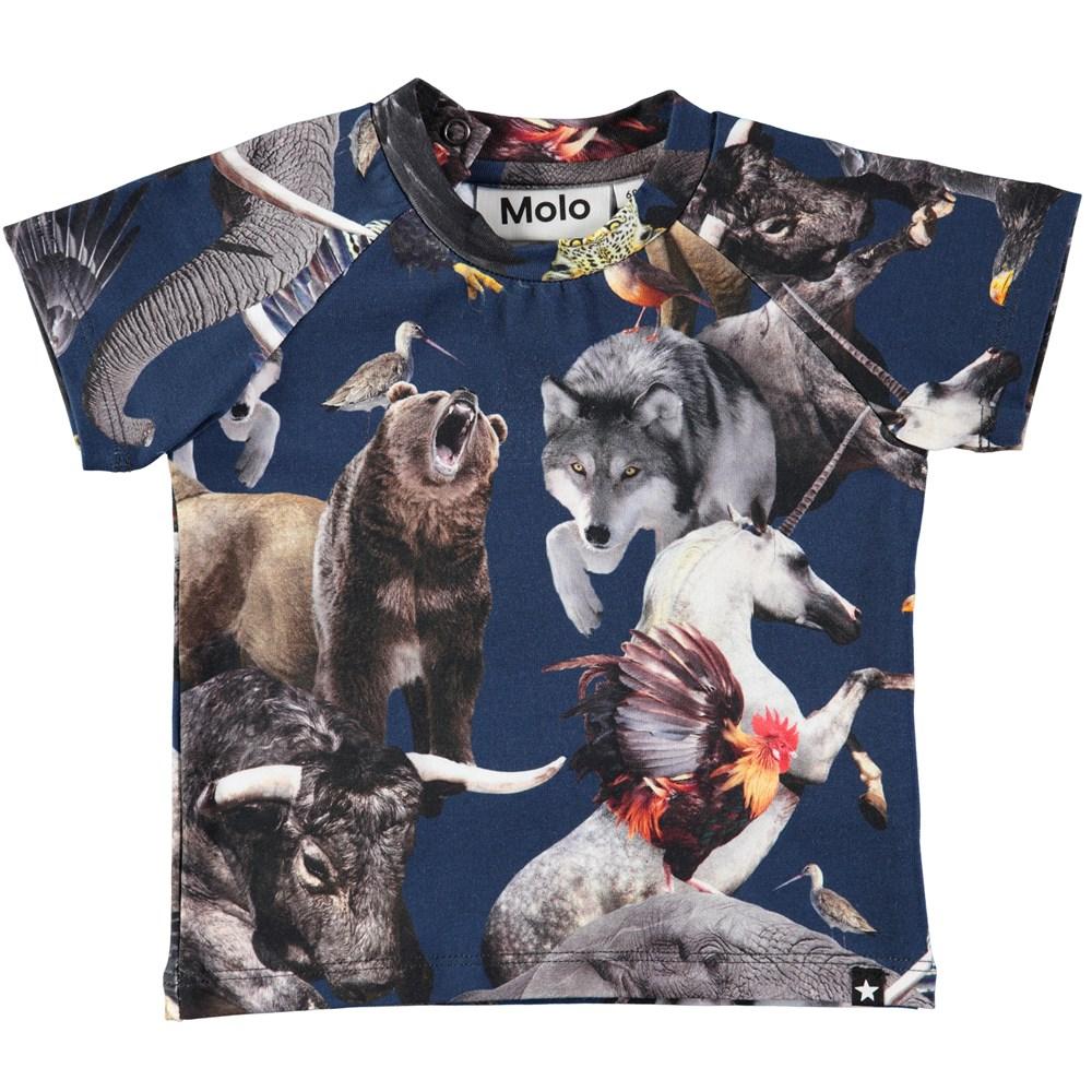 Emmett - National Animals - Dark blue baby t-shirt with digital print of national animals of the world