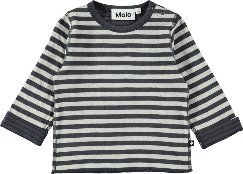 Enew - Dark Grey Double Stripe - Striped cotton baby top
