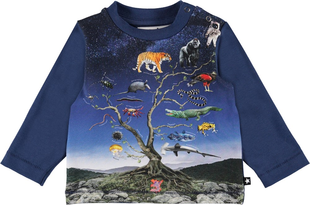 Enovan - Animal Tree Small - Blue baby top with animals and aliens