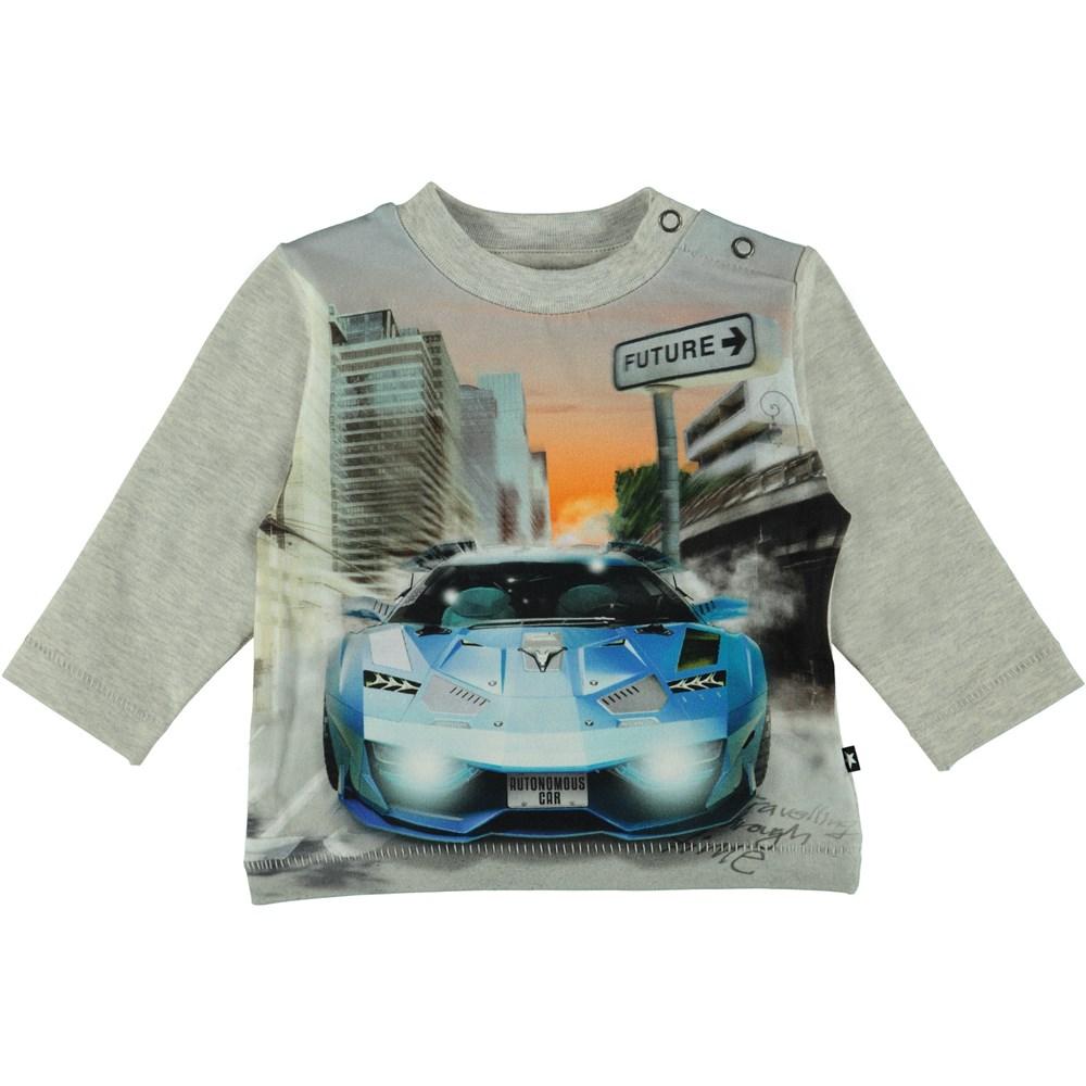 Enovan - Autonomous Car - Long sleeve grey t-shirt with car on stomach.