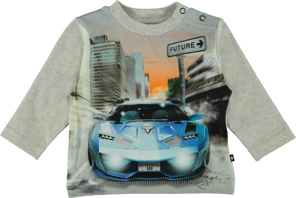 Enovan - Autonomous Car - Long sleeve grey t-shirt with car on stomach.