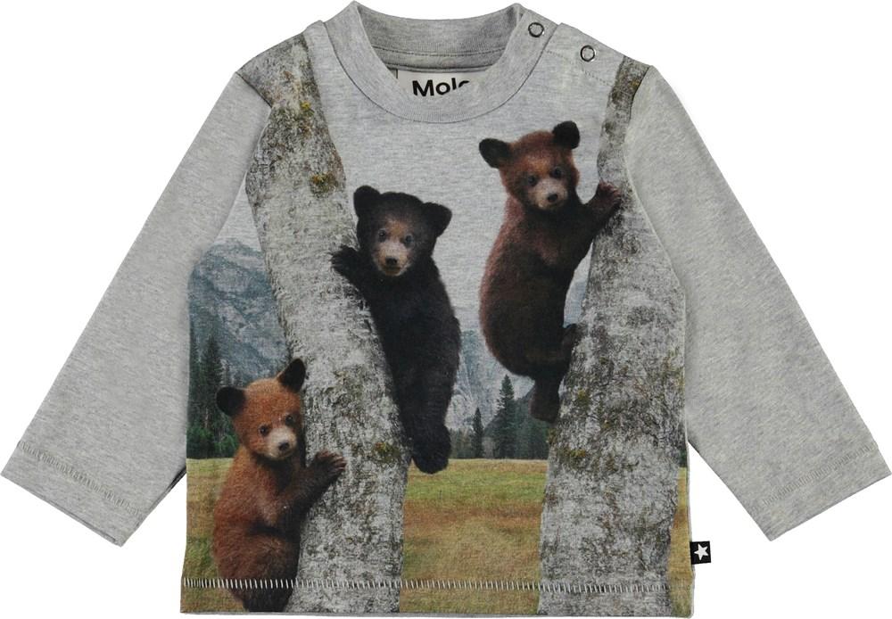 Enovan - Climbing Bear Cubs - Grey organic top with bears