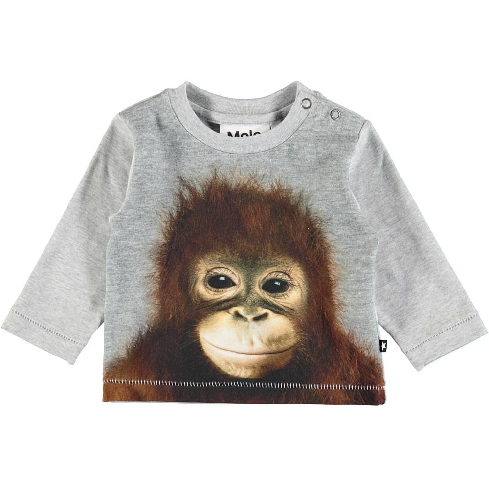 Enovan - Orangutan - Long sleeve, grey baby top with digital orangutan print