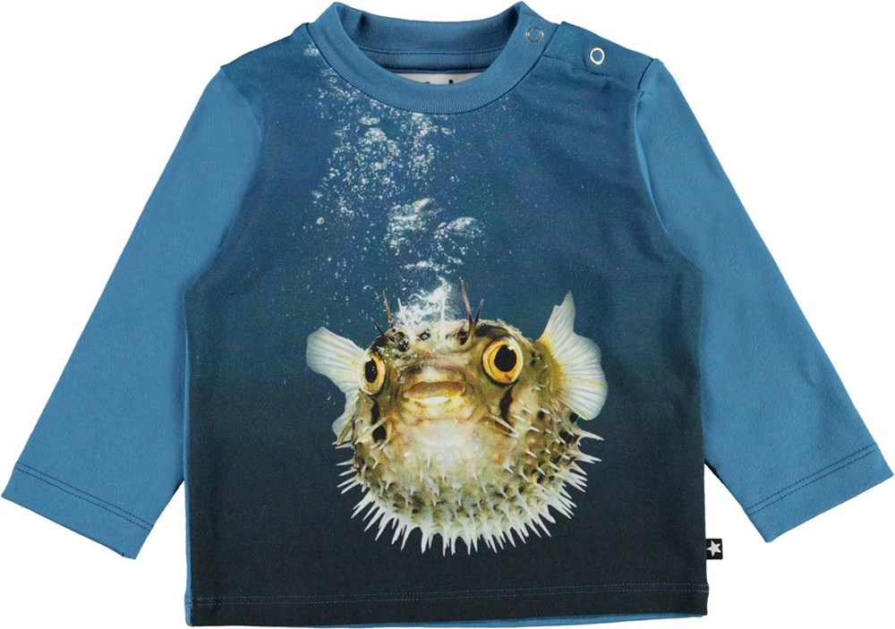 Enovan - Pufferfish - Blue organic baby top with puffer fish