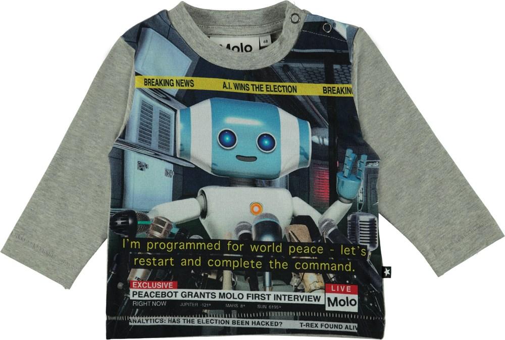 Enovan - Robot - Long sleeve grey t-shirt with robot print.