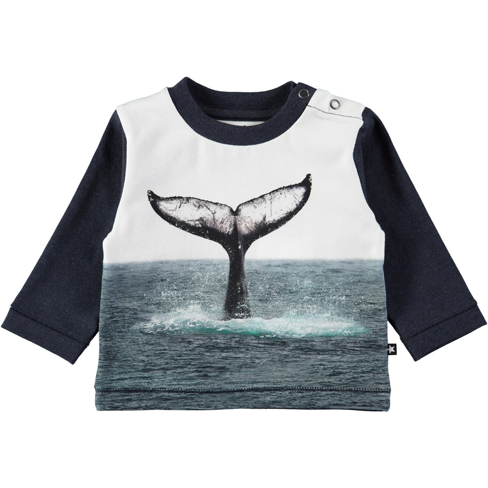 Enovan - Whale Tail - Long sleeve, dark blue baby top with digital whale print