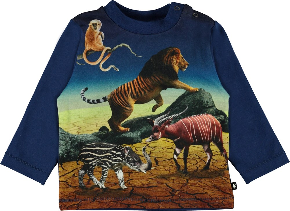 Enovan - Wild Future - Blue organic baby top with animals