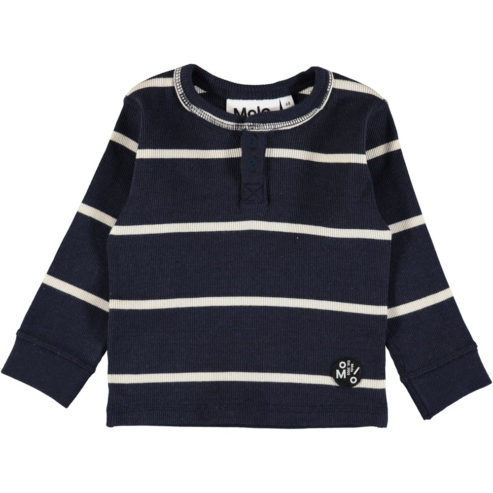 Ernst - Dirty White Stripe - Dark blue, striped baby top in soft rib