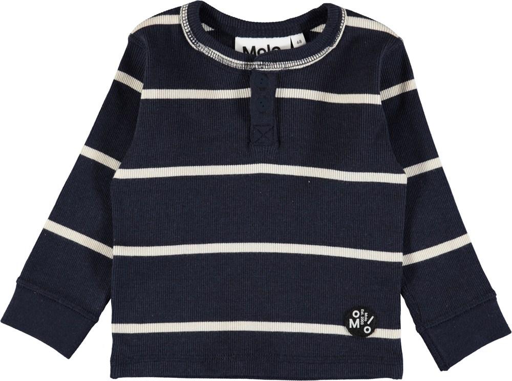 Ernst - Dirty White Stripe - Dark blue, striped baby top in soft rib