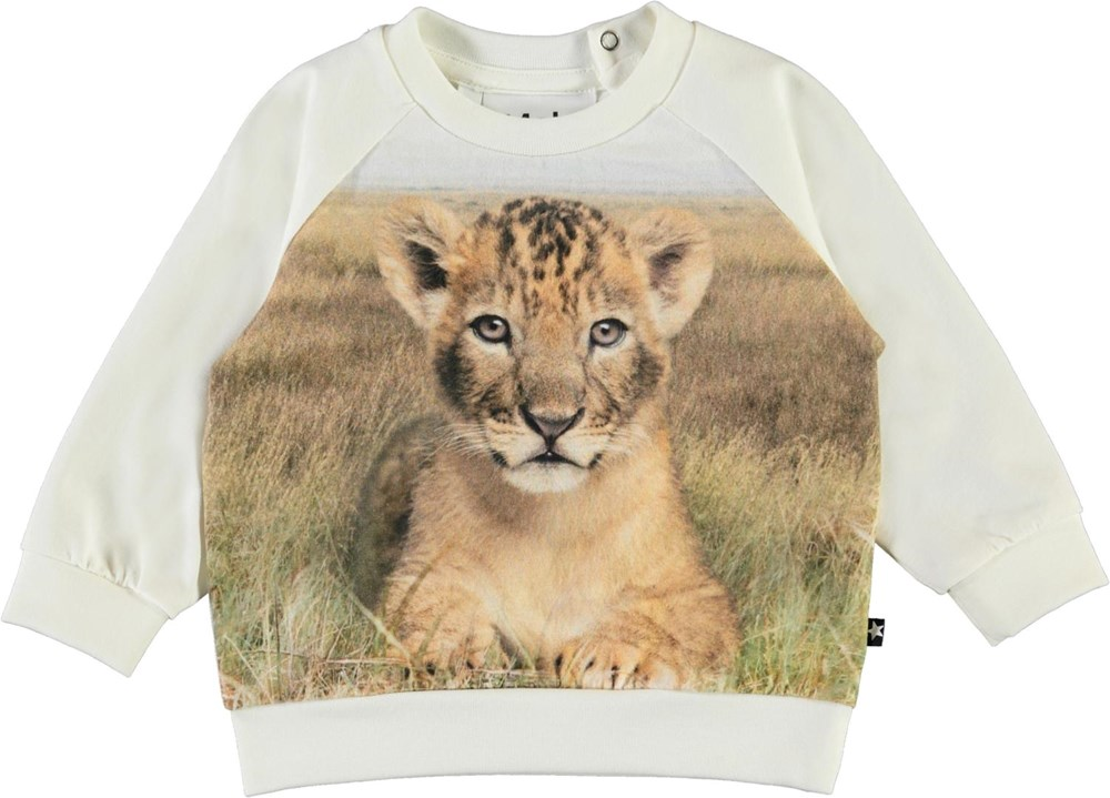 Esco - Young Lion - White organic baby top with lion