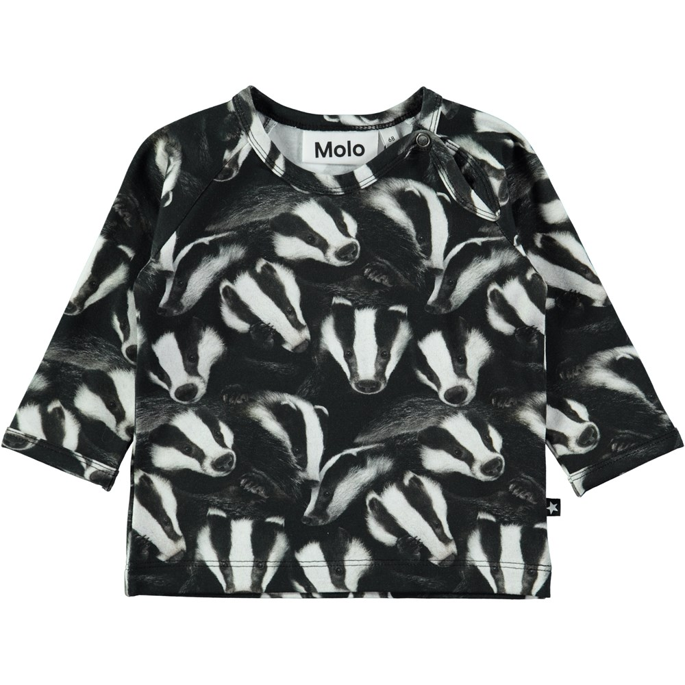 Ewald - Badgers - Long sleeve baby top with digital badger print