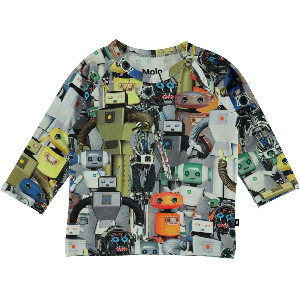 Ewald - Robots - Long sleeve baby t-shirt with robots.