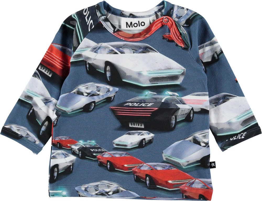 Ewald - Self-Driving Cars - Blue baby top with cars.