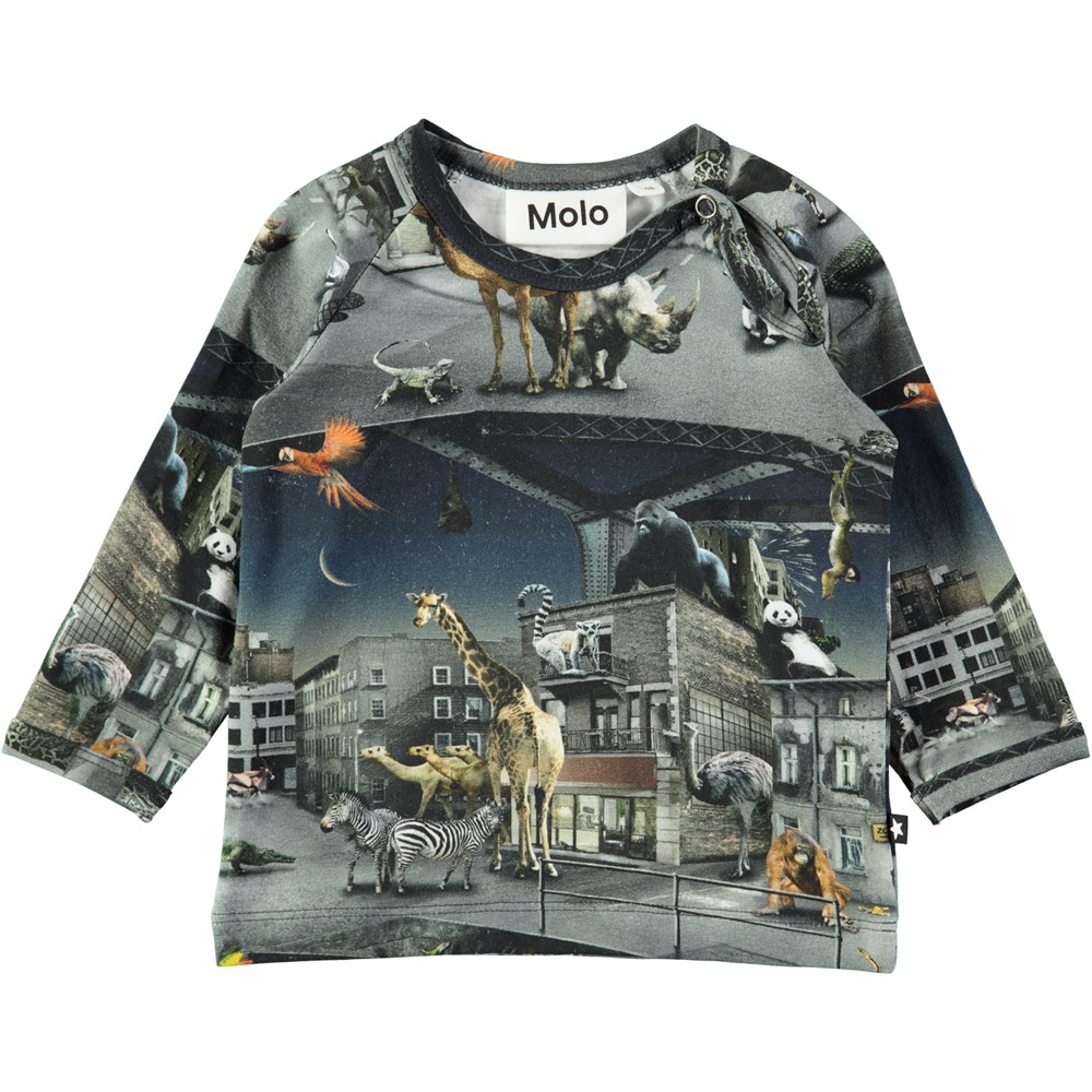 Ewald - Zoo Rebellion - Long sleeve baby t-shirt with digital zoo print