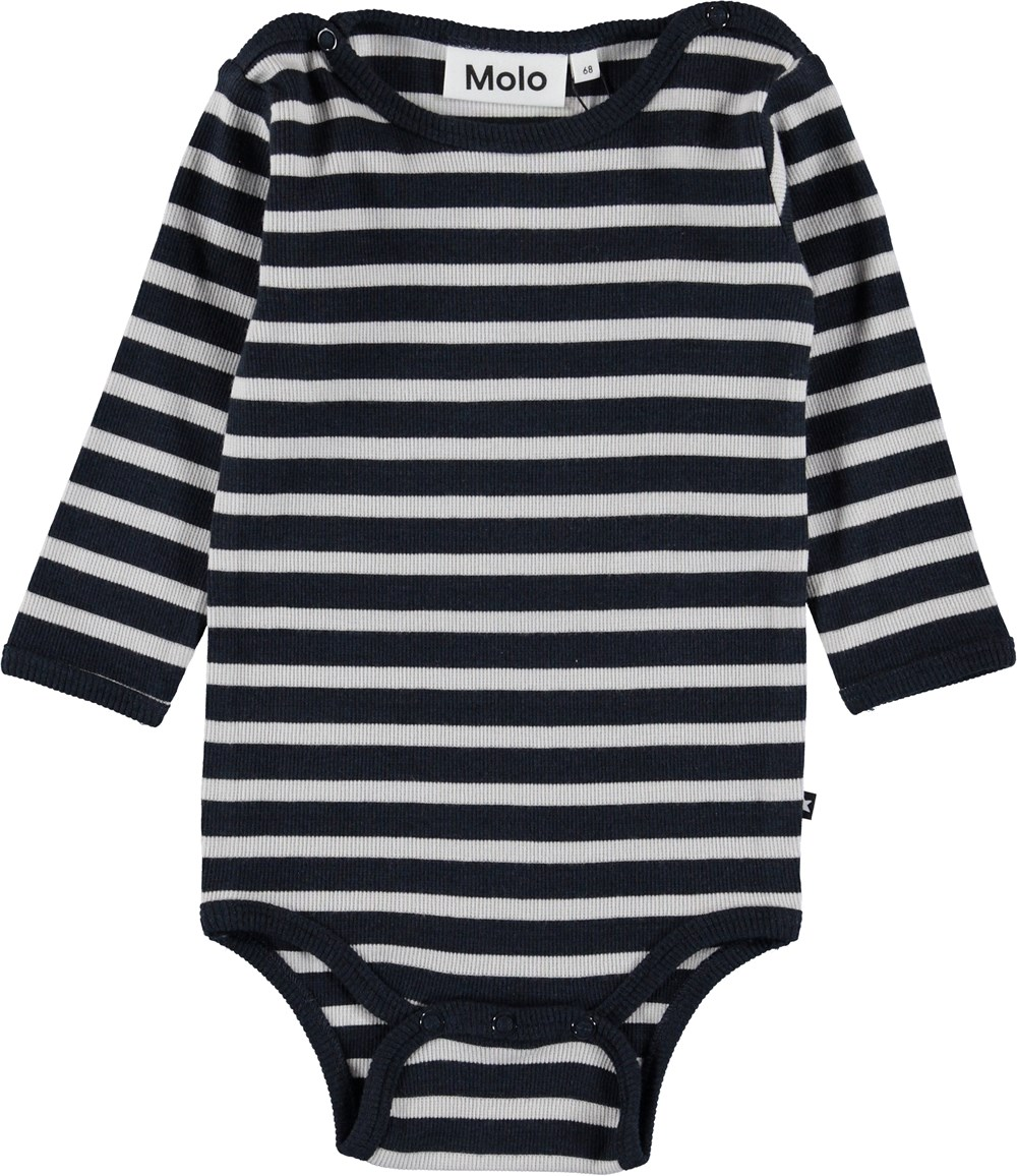 Fair - Carbon Stripe - Blå stribet baby body.