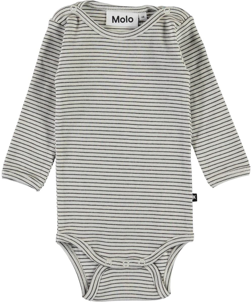 Fair - White Brown Stripe - Hvid og brun stribet baby body
