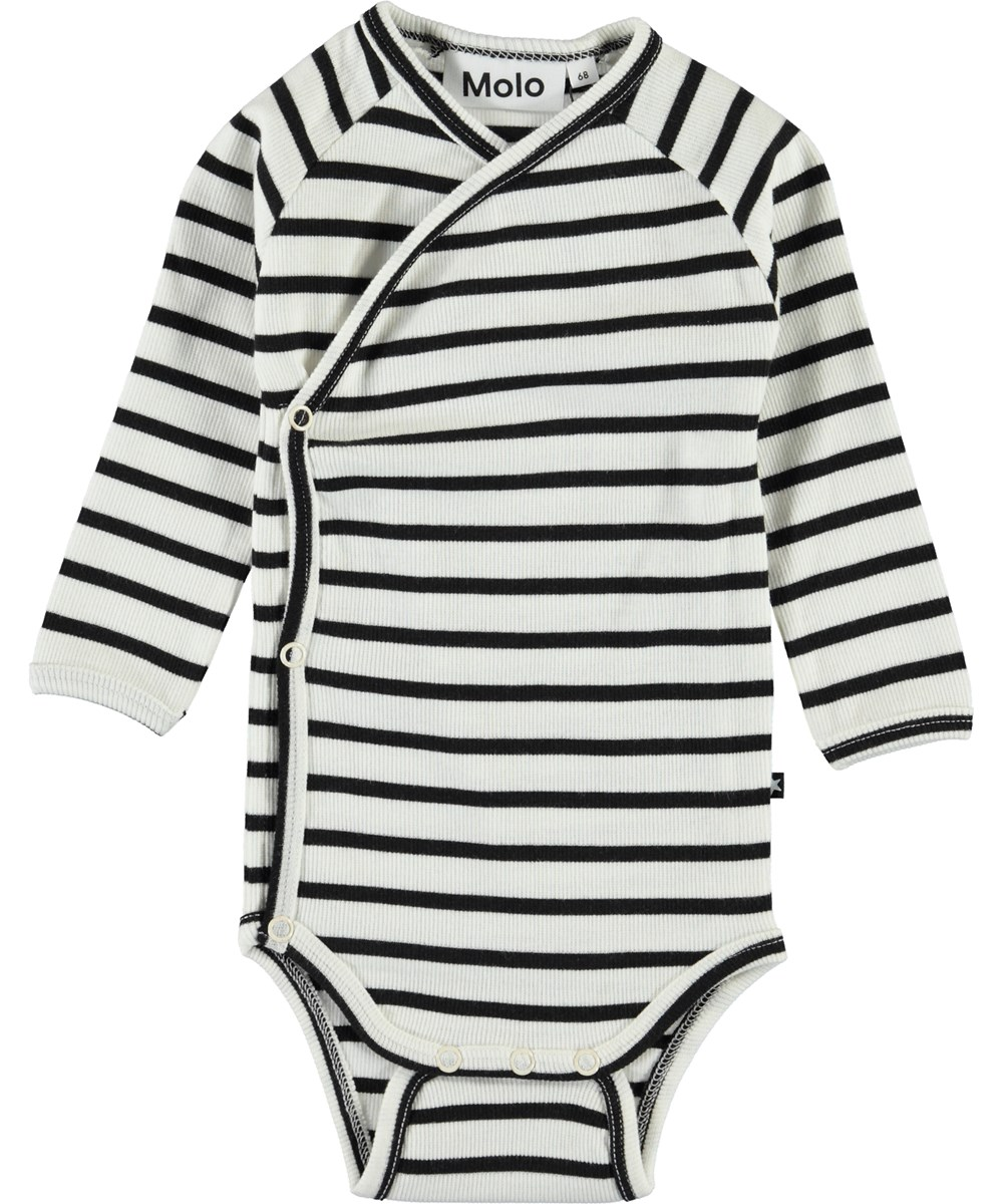 Fan - Black Stripe - Sort og hvid stribet baby body