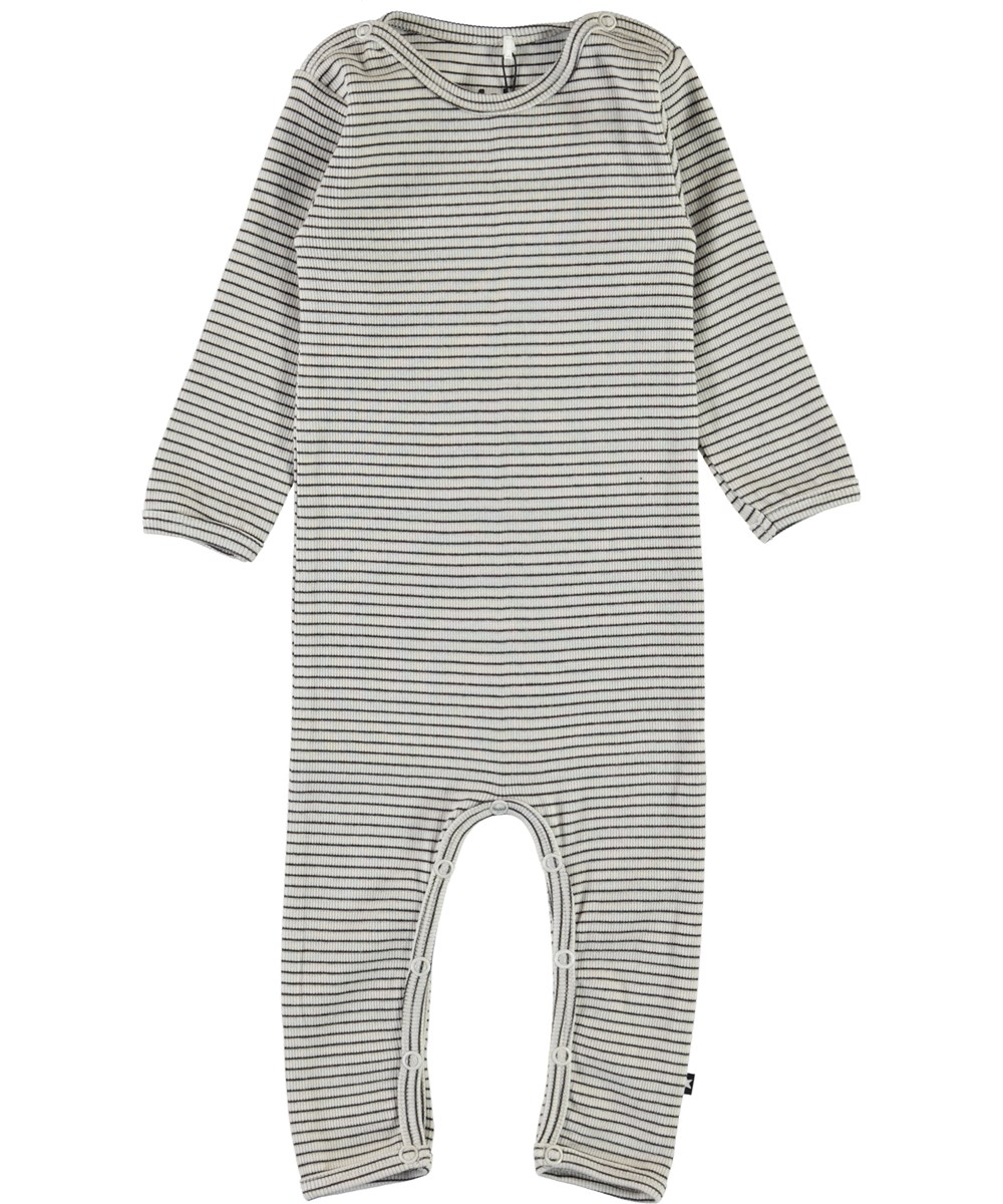 Fenez - White Brown Stripe - Stribet rib baby body