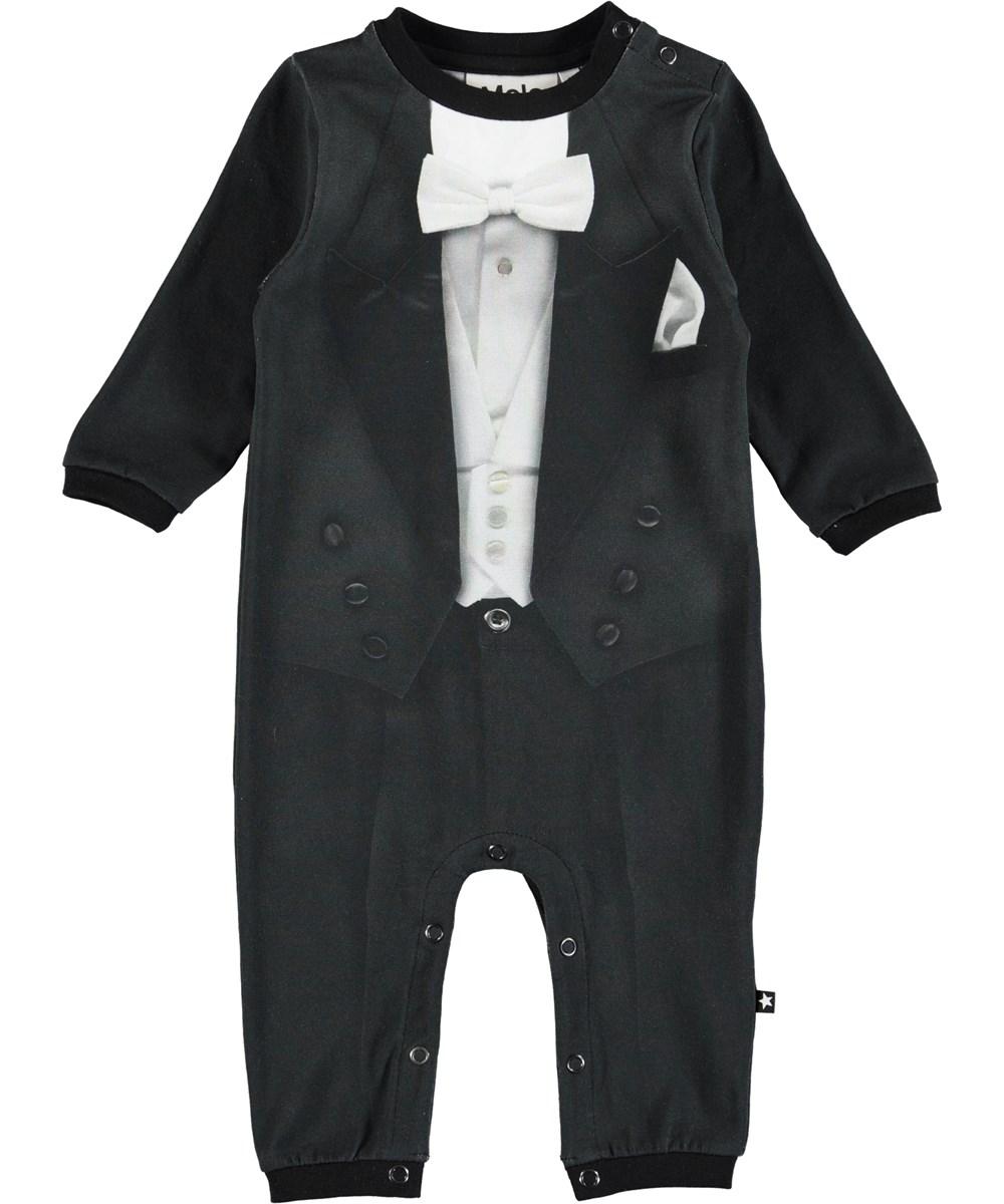 Festlig - Smoking - Langærmet, sort heldragt til baby med smoking print