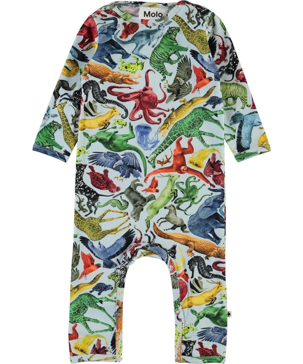 Fleming - Colourful Animals - Lyseblå babydragt med dyre print