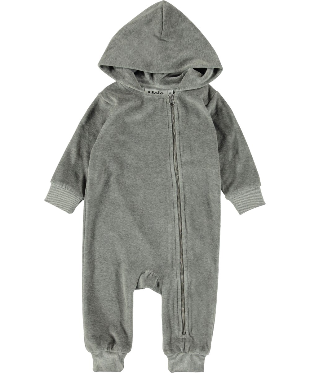 Fowo - Grey Melange - Grå velour baby heldragt.