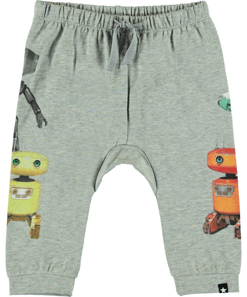 Sabbe - Grey Melange - Lysegrå baby bukser.
