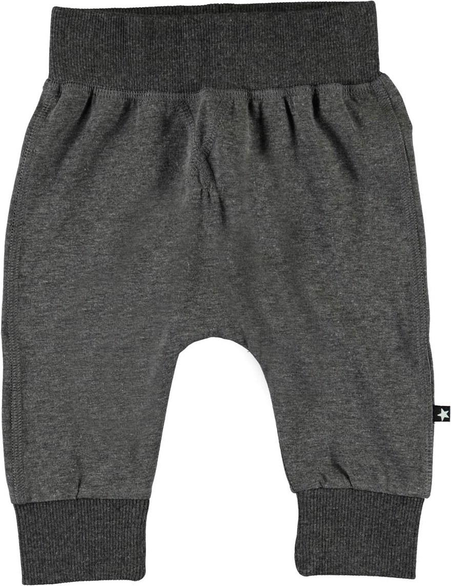 Sammy - Medium Grey Melange - Økologiske mørkegrå baby bukser