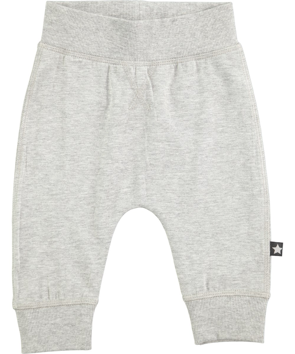 Sammy - Grey Melange - rummelige grå baby bukser