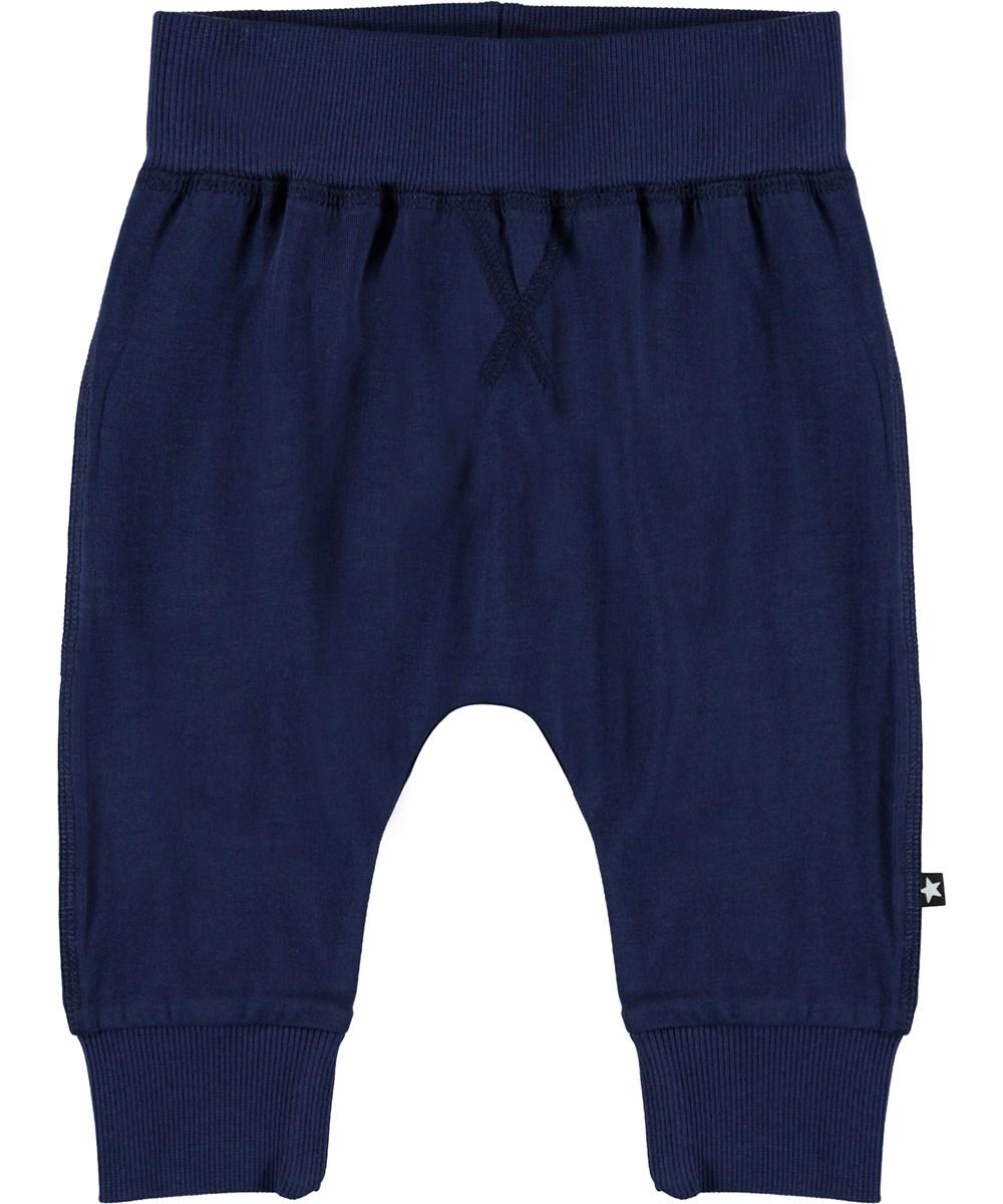 Sammy - Sailor - Økologiske mørkeblå baby bukser