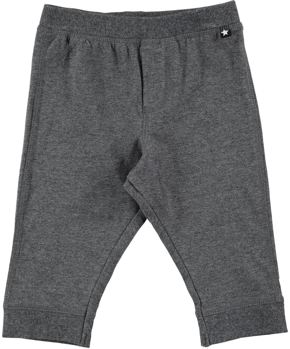 Scott - Dark Grey Melange - Mørkegrå baby bukser