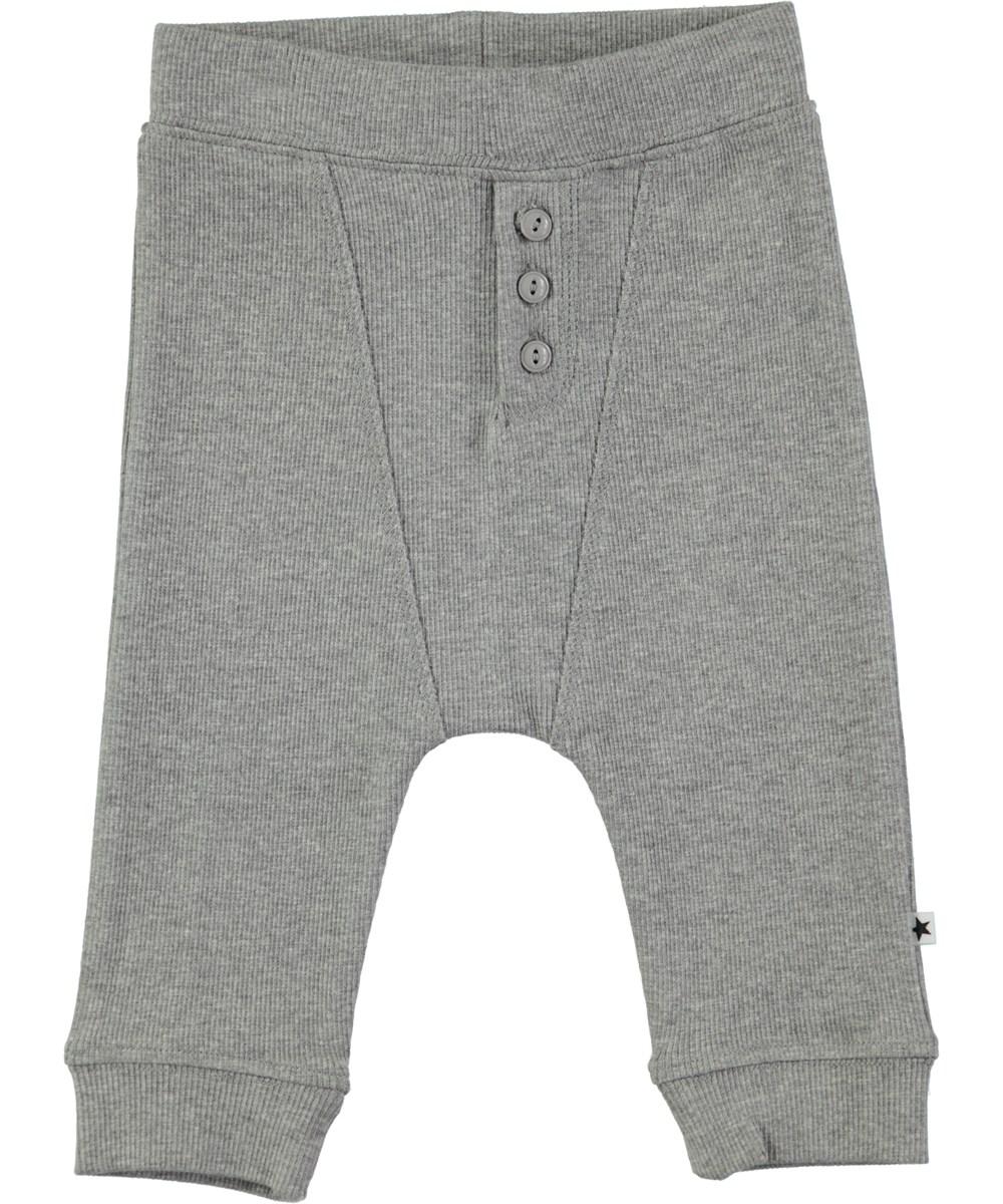 Simpson - Grey Melange - Grå baby bukser i rib