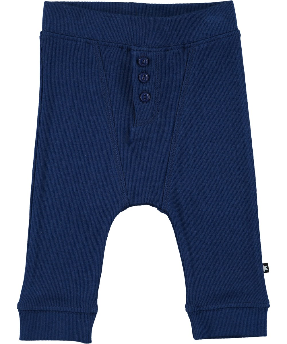 Simpson - Indigo - Mørkeblå baby bukser i rib