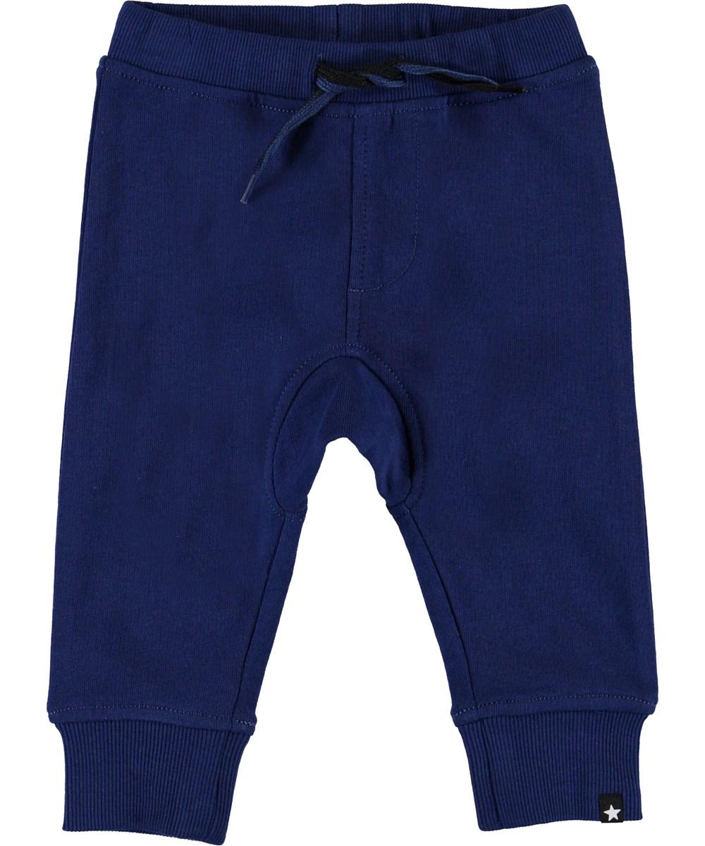 Stan - Ink Blue - Økologiske blå baby sweatpants