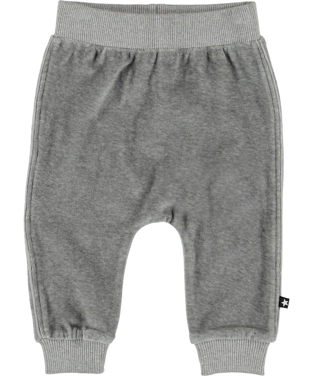 Steinbjorn - Grey Melange - Grå velour baby bukser.
