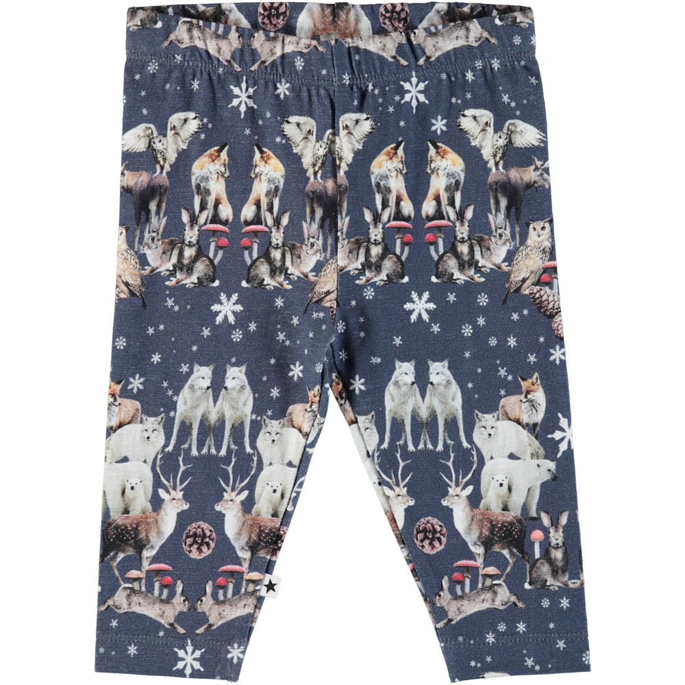Stefan - Nordic Pattern - Mørkeblå baby leggings med nordiske dyr