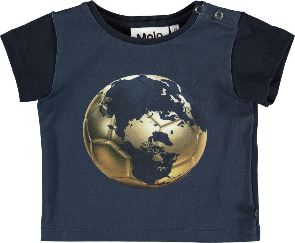 Eddie - Football Globe - Mørkeblå baby t-shirt med fodboldprint