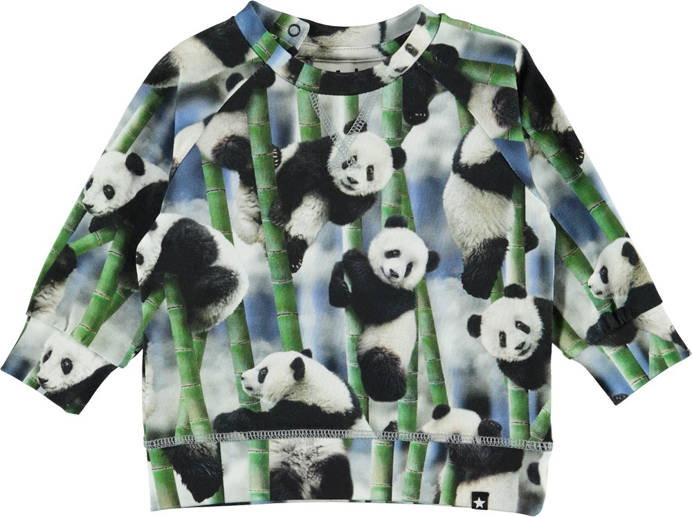 Elmo - Panda - Økologisk baby bluse med padaer