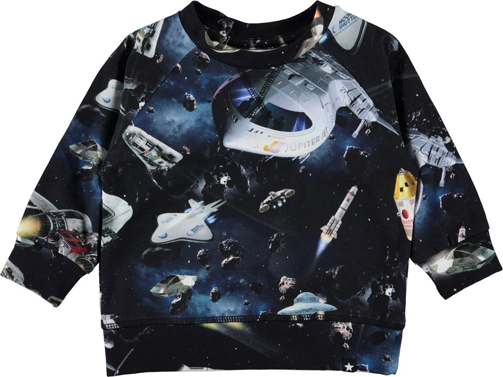 Elmo - Space Traffic - Baby bluse med rumskibe.