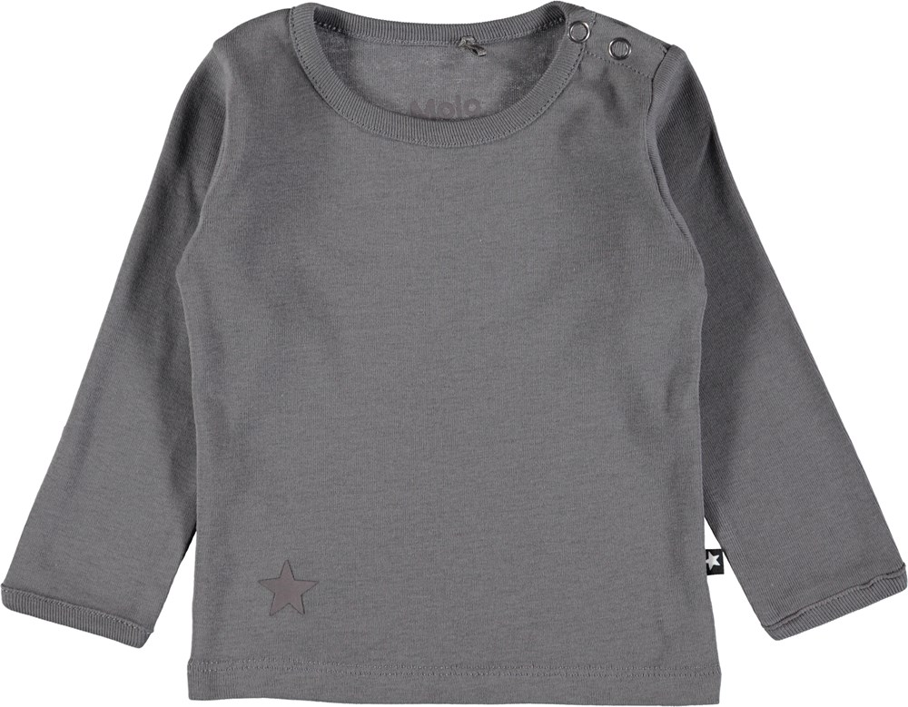 Elo - Dark Grey - Mørkegrå basis bluse til baby