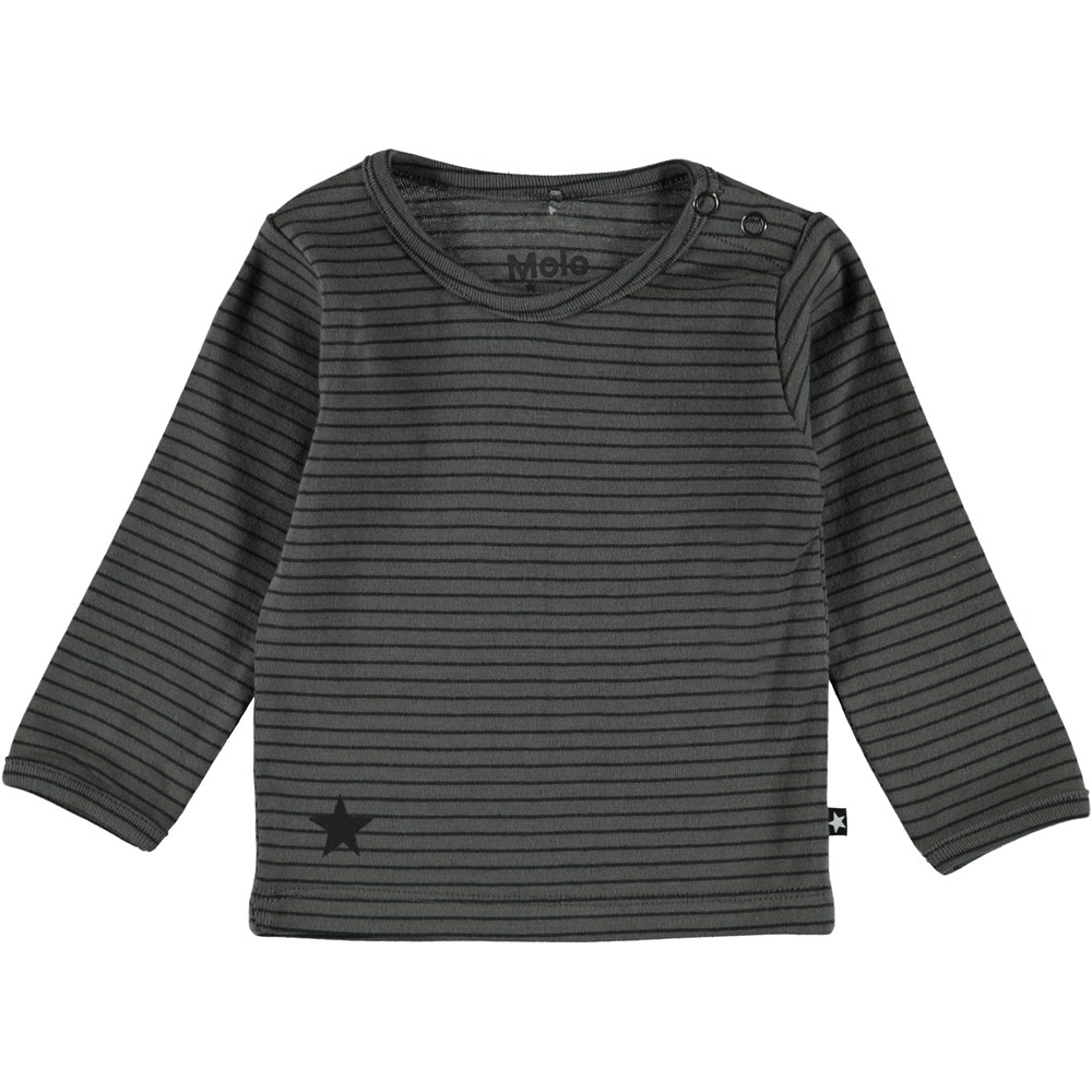 Elo - Pewter Stripe - Mørkegrå stribet t-shirt.