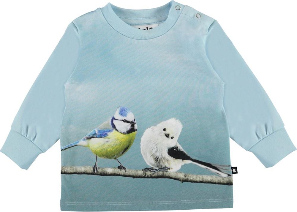Eloy - Best Friends - Økologisk lyseblå babybluse med fugle