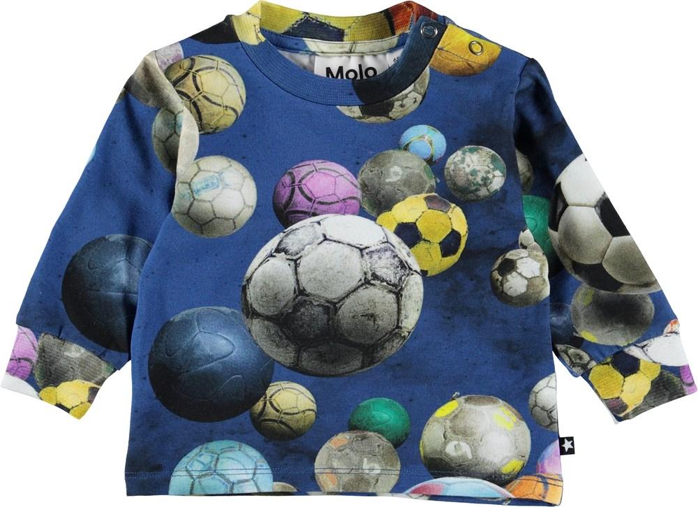 Eloy - Cosmic Footballs - Baby bluse med fodbolde.